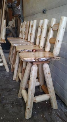 Pin by rustic dan,s log furniture on rustic dan& log furniture in 2019 Cedar Furniture, Rustic Log Furniture, Lawn Furniture, Woodworking Items That Sell, Woodworking Furniture Plans, Rustic Wood, Rustic Decor, Log Bar Stools, Log Chairs