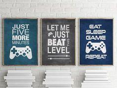 Set of 3 Video Gamer Graphic Prints or Matted Options Wall Art Cool set of Gamer Wall Art! Set of 3 Video Gamer Graphic Prints or Boys Game Room, Kids Room, Preteen Boys Room, Teen Game Rooms, Teen Boy Bedrooms, Teenage Boy Rooms, Teenage Boy Birthday, Teen Bedroom, Modern Bedroom