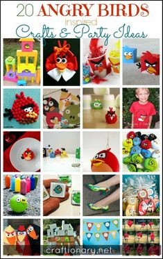 Angry birds crafts. Crafts and Party ideas with tutorials and DIY to make themed party projects in the angry bird theme. Outdoor games and free printables.