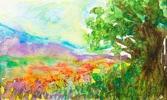 Watercolour Landscape Original Painting Meadow by GwenDudaStudios