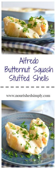 A Fall inspired twist on stuffed shells recipe.  This butternut squash stuffed shells recipe is a great way to include more vegetables into your meals.