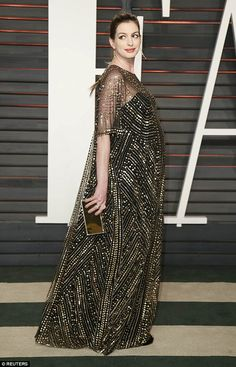 Bumping along nicely: Pregnant Anne made a stunning appearance at the Vanity Fair Oscar Party in Beverly Hills on Sunday night
