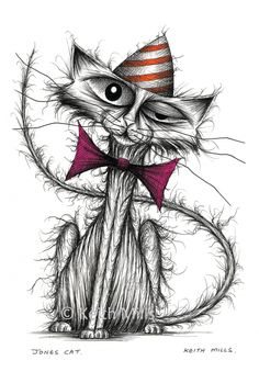 Jones cat Print download Extremely thin skinny kitty puss moggy in comedy stripey hat and bow tie with super long curved tail Cartoon sketch by KeithMills on Etsy