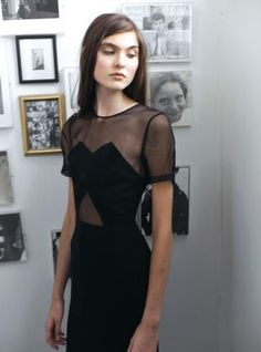 Yana Black Crepe & Organza Contrast Dress by REJINA PYO