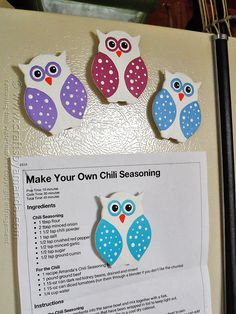 Polka Dot Owl Magnets @amandaformaro Crafts by Amanda