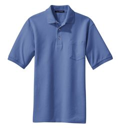 Port Authority Mens Cotton Pique Knit Short Sleeve Pocket Polo Shirt K420P