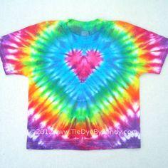 42bde07d7bfd Child Medium Tie Dye Shirt Rainbow Pink Heart Tie Dye Shirts