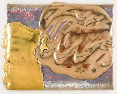 Nancy Lorenz, Moon Gold Lemon Gold on Burlap, 2014
