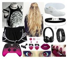 """Untitled #693"" by lostfaithinhumanity ❤ liked on Polyvore featuring adidas, Rembrandt Charms, Miss Selfridge, Beats by Dr. Dre, Fitbit, Microsoft, Tarina Tarantino and Hush"