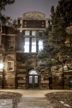 King George School in Hamilton, Ontario. Located on Gage street North. Night exposure of the entrance.