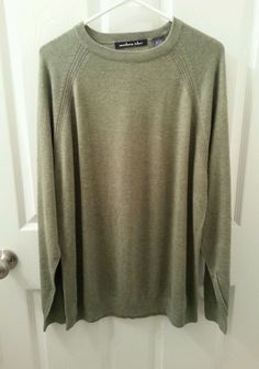 Northern Isles Sweater Size Large Silk Rayon Cashmere Green Lightweight Soft #NorthernIsles #Crewneck