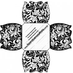 Black and White: Free Printable Boxes. Printable Box, Free Printables, Pebbles And Bam Bam, Oh My Fiesta, White Damask, White Gift Boxes, Gift Bags, Cuff Bracelets, Projects To Try