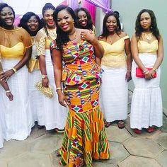 """Isn't She Lovely... Gorgeous bride! Makeup by @cjzmakeover #kenteinpiration #kenteonpoint #ghanauniqueweddings"""