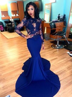 Hot Sale Satin Applique O Neck Sheer Long Sleeve Royal Blue Mermaid Evening Dresses 2016 Robe De Soiree Zipper-Up Court Train