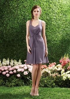 A-line B2 V-neck Keyhole Back Knee Length Bridesmaid Dress