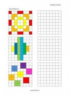 Dit werkblad en nog veel meer in de categorie ruimtelijke orientatie - nakleuren kun je downloaden op de website van Juf Milou. Kindergarten Math Worksheets, Worksheets For Kids, Teaching Math, Therapy Activities, Activities For Kids, Visual Perception Activities, Math Patterns, Math For Kids, Kids Learning