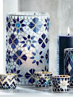 Mosaic Hurricane Candleholders- Blue and white wedding