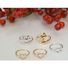 Dainty Fox and Cat Face Rings at www.KISSmeMINT.com