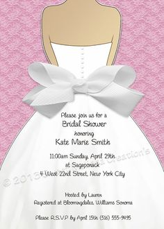 bridal shower invitation lace u0026 bow design multiple colors diy print at home sweet melissa creations