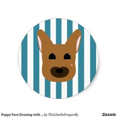 Puppy Face Drawing with Blue Stripes