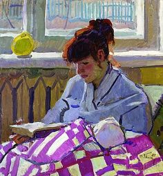 """Reading"", 1982, by Tatiana Yablonskaya (Ukrainian, 1917-2005)"