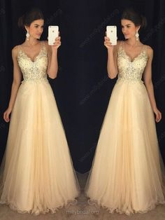 A line V neck Tulle Appliques Lace Floor-length Backless Prom Dresses, Backless Formal Dresses Cute Prom Dresses, Backless Prom Dresses, Tulle Prom Dress, Prom Dresses Online, Mermaid Dresses, Dance Dresses, Ball Dresses, Pretty Dresses, Homecoming Dresses