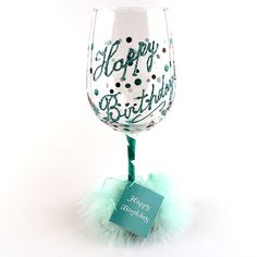 Happy Birthday Wine Glass Hand Painted Blue Made In Oregon