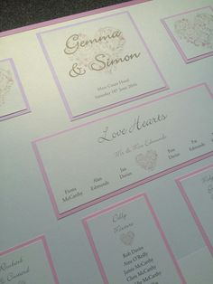 Pink heart themed wedding table plan