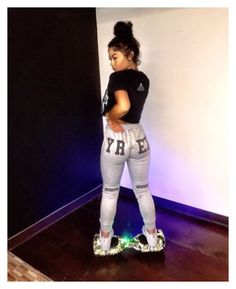 """""""messing with da hoverboard my baby got me-nadia"""" by miracle102 ❤ liked on Polyvore"""