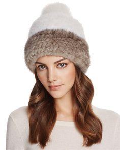 Maximilian Furs Fox Fur Pom-Pom   Mink Fur Beanie - 100% Exclusive Kožešiny 07e4c85eb9