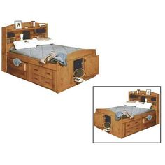 Check out the fun & stylish Bunkhouse Captains Bed 2 Underdrawers by Trendwood USA. Kids Bedroom Furniture for less! Full Bed With Storage, Under Bed Storage, The Bunkhouse, Door Storage, Storage Units, Captains Bed, Bookcase Headboard, Kids Bedroom Furniture, Toddler Bed