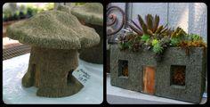 Hypertufa Mushroom House & Succulents