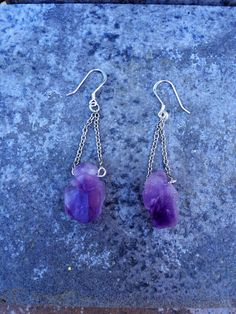 THE AMETHYST Earrings // Natural Chunky Amethyst by ShopParadigm, $32.00