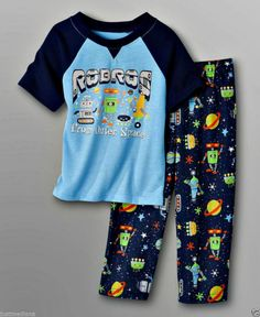 Joe Boxer Baby Boy's Spring Multi Color 2 Pc Set PJ's Graphic Robots - Sz 12mo #JoeBoxer #TwoPiece - May 30, 2014 - $11.49 - #FreeShipping