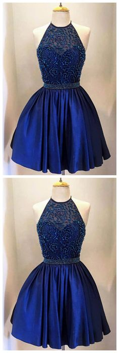 Exquisite Halter Short Beaded Royal Blue Homecoming Dress