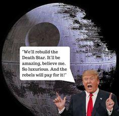 """OMG - What do you think? Me lo acaban de enviar   (*Donald Trump: """"Vamos a reconstruir la Estrella de la Muerte. Será increíble, creedme. Tan lujosa. Y la pagarán los rebeldes"""")  www.elblogdeamanda.com"""