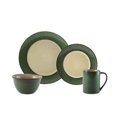 Green 16 Piece Dinnerware Set