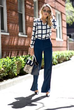 Widelegs and Windowpanes --- Blouse: Tommy Hilfiger  |  Pants: Hilfiger Collection   |  Bag: Tory Burch  |  Shoes: Nine West  |  Sunglasses: Ray-Ban  |  Bracelets: Alex and Ani  |  Rings: Henri Bendel c/o, Henri Bendel c/o, and Gorjana   |  Earrings: Kate Spade