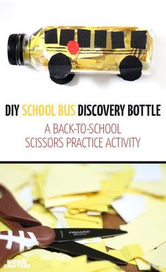 Practice scissor skills in this fun back to school craft to prepare for preschool or kindergarten! This DIY school bus discovery bottle is a cool DIY toy that also doubles as an educational activity for toddlers and preschoolers. #FiskarsBTS /FiskarsAmericas/ [ad]