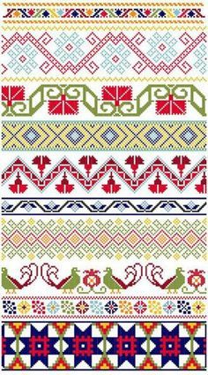 Mexicanos Folkloricos - Mexican Cross Stitch Borders PDF Pattern Plus Crochet Borders, Cross Stitch Borders, Cross Stitch Designs, Cross Stitching, Cross Stitch Patterns, Folk Embroidery, Cross Stitch Embroidery, Embroidery Patterns, Border Pattern