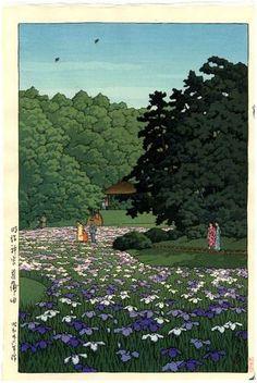 HASUI Japanese Woodblock Print Iris Garden 1951 | eBay