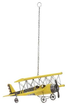 Metal Model Plane Sculpture. This biplane metal sculpture would be perfect for a boy's room or anybody that's into planes comes as a change so it can be hung from the ceiling