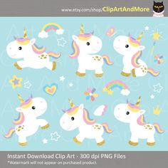 Cute baby unicorns clipart set! Instant download hi resolution PNG files.