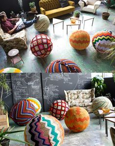exercise balls covered with old throw blankets....(Third Drawer Down Crochet Balls via the red thread)