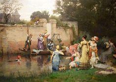 'Le Bain Des Dames' by Pierre Outin (1840-1899) Original Oil Painting