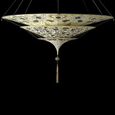 The Fortuny Scheherazade with three tiers. Handpainted silk, so beautiful! Made by Venetia Studium in Venice Fortuny Lamp, Green Paintings, Dramatic Lighting, Brown Floral, Fabric Shades, Interior Lighting, Wall Lighting, Lamp Light, Light Art