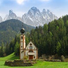 St Johann Church in spring, Santa Maddalena, Val Di Funes, Dolomites, Italy