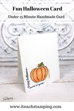 "These simple but super sweet handmade pumpkin cards are easy to make, come together super quick thanks to some handy tips and are perfect to send to anyone who loves Halloween. Trick or treat cards are a fun way to celebrate Halloween with anyone who might be to grown up to go door to door! Click through and learn some of my ""trade secrets""! Halloween Cards, Halloween Fun, Handy Tips, Helpful Hints, Pumpkin Uses, Pumpkin Cards, Alcohol Markers, Glue Dots, Free Paper"