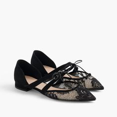 Tie-front flats in lace and suede : flats | J.Crew