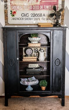 Lady Edith, An Antique Curio Cabinet — by kathi arbiso.  Painted w/ Miss Mustard Seed Paints